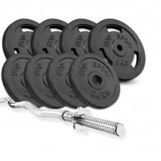 Набор Hop-Sport Strong 37 кг штанга с блинами с W- або Z-подобным грифом