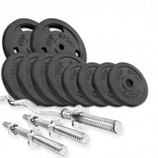 Набор Hop-Sport Strong 37 кг штанга с блинами с W або Z подобным и гантельными грифами