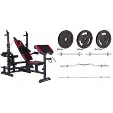 Набор Hop-Sport Strong штанги и гантели с блинами 82 кг со скамьей HS-1075 + пульт (парта)