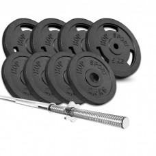 Набор Hop-Sport Strong 39 кг штанга с блинами с прямым грифом