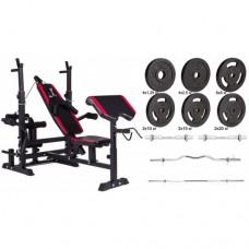 Набор Hop-Sport Strong штанги и гантели с блинами 157 кг со скамьей HS-1075 + пульт (парта)