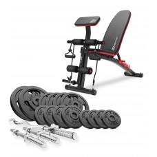 Набор Hop-Sport Strong 67 кг штанга с блинами со скамьей HS-1035