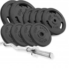 Набор Hop-Sport Strong 57 кг штанга с блинами с W или Z подобным грифом