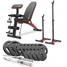 Набор Hop-Sport Strong 76 кг штанга с блинами со скамьей HS-1035 и стойками 1002L