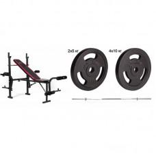 Силовой набор Hop-Sport Strong 60 кг со скамьей HS-1055