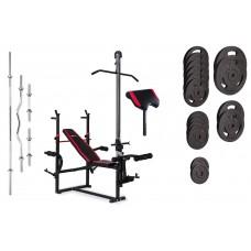 Набор Strong 129 кг со скамьей HS-1070 с тягой и партой